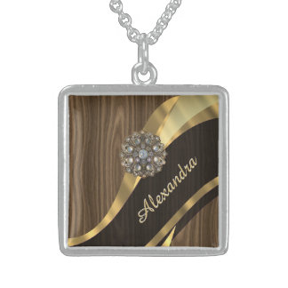 Personalized pretty faux brown wood square pendant necklace