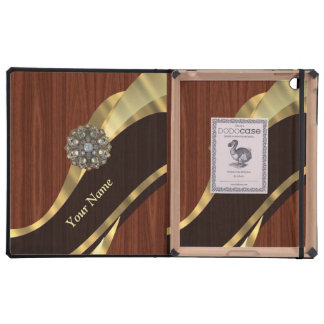 Personalized pretty faux cherry wood iPad case