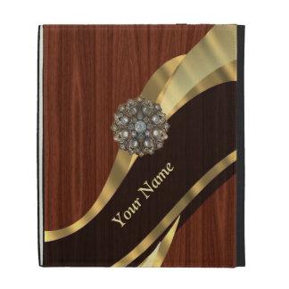 Personalized pretty faux cherry wood iPad folio covers