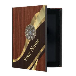 Personalized pretty faux cherry wood iPad folio case