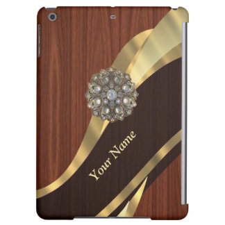 Personalized pretty faux cherry wood iPad air case