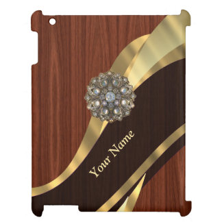 Personalized pretty faux cherry wood iPad cover