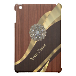 Personalized pretty faux cherry wood case for the iPad mini