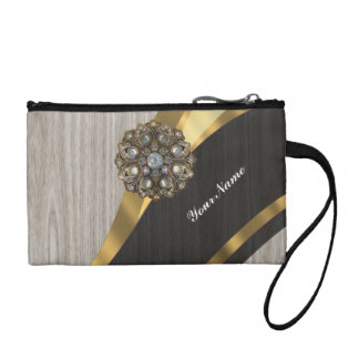 Personalized pretty faux dark gray wood change purse