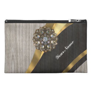 Personalized pretty faux dark gray wood travel accessories bag