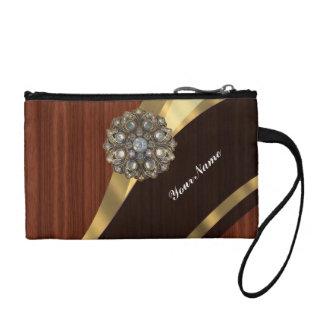 Personalized pretty faux dark mahogany wood coin purse