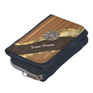 Personalized pretty faux dark pine wood wallets