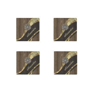 Personalized pretty faux dark wood stone magnet