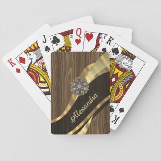 Personalized pretty faux dark wood card deck