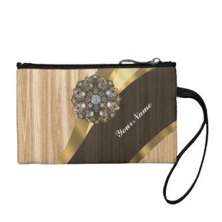 Personalized pretty faux light brown oak wood coin wallet