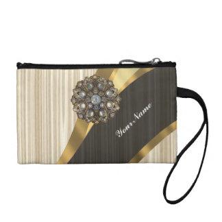 Personalized pretty faux light oak wood coin purse
