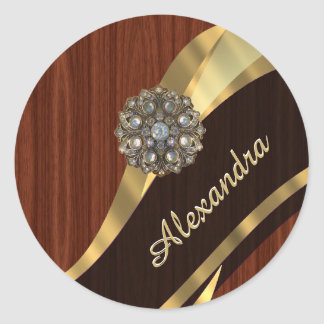 Personalized pretty faux mahogany wood classic round sticker
