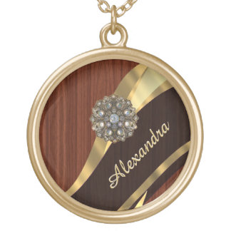 Personalized pretty faux mahogany wood gold plated necklace