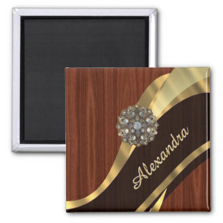 Personalized pretty faux mahogany wood magnet