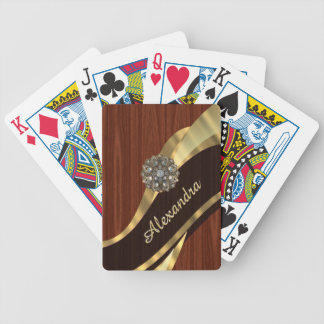 Personalized pretty faux mahogany wood bicycle playing cards