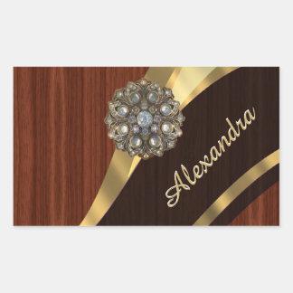 Personalized pretty faux mahogany wood rectangular sticker