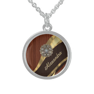Personalized pretty faux mahogany wood round pendant necklace
