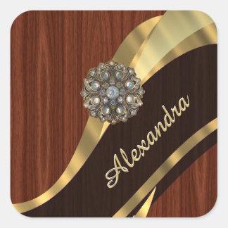 Personalized pretty faux mahogany wood square sticker