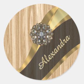 Personalized pretty faux oak wood classic round sticker