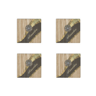 Personalized pretty faux oak wood stone magnet