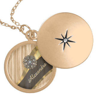 Personalized pretty faux oak wood gold plated necklace