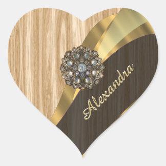 Personalized pretty faux oak wood heart sticker