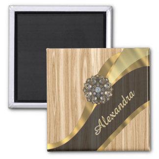 Personalized pretty faux oak wood 2 inch square magnet