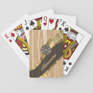 Personalized pretty faux oak wood deck of cards