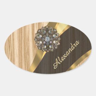 Personalized pretty faux oak wood oval sticker
