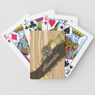 Personalized pretty faux oak wood bicycle playing cards
