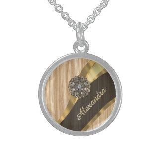Personalized pretty faux oak wood round pendant necklace