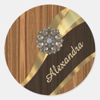Personalized pretty faux pine wood grain classic round sticker