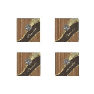 Personalized pretty faux pine wood grain stone magnet