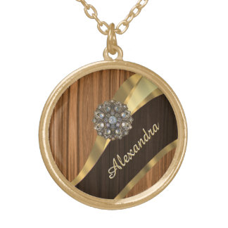 Personalized pretty faux pine wood grain gold plated necklace