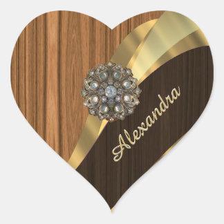 Personalized pretty faux pine wood grain heart sticker