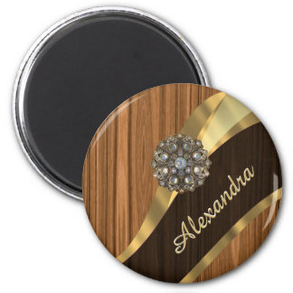 Personalized pretty faux pine wood grain 2 inch round magnet