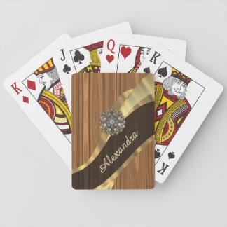 Personalized pretty faux pine wood grain card deck