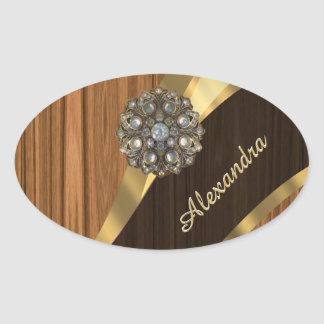 Personalized pretty faux pine wood grain oval sticker