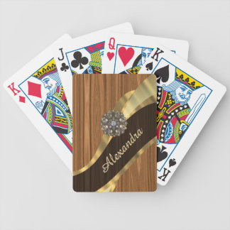 Personalized pretty faux pine wood grain bicycle playing cards