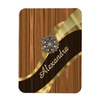 Personalized pretty faux pine wood grain rectangular photo magnet