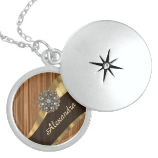 Personalized pretty faux pine wood grain round locket necklace