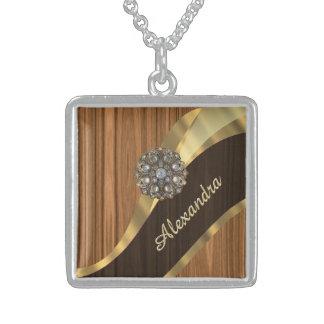 Personalized pretty faux pine wood grain square pendant necklace