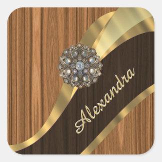 Personalized pretty faux pine wood grain square sticker