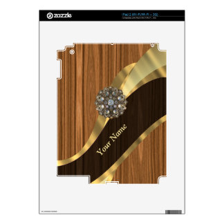 Personalized pretty faux pine wood iPad 2 decals