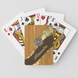 Personalized pretty faux pine wood card deck