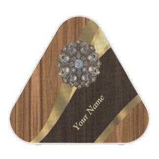 Personalized pretty faux pine wood speaker