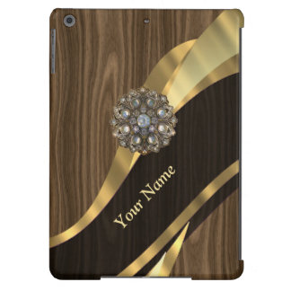 Personalized pretty faux wood iPad air covers