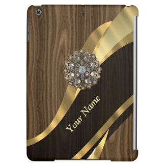 Personalized pretty faux wood iPad air cases