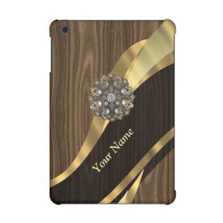 Personalized pretty faux wood iPad mini cases
