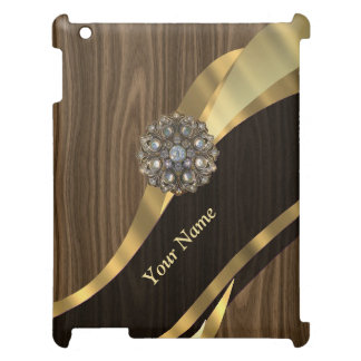 Personalized pretty faux wood iPad cover